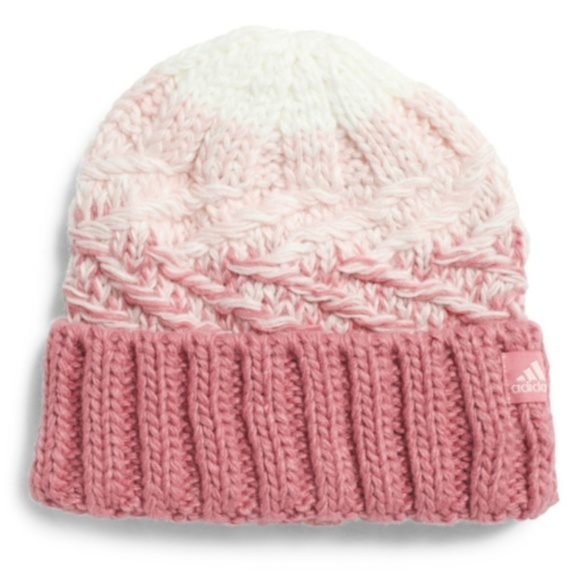 f029f235 Pink and cream ADIDAS beanie